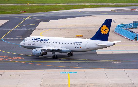 FRANKFURT - MAY 02: Lufthansa Airplane at the Frankfurt International Airport on May 02. 2018 in Germany