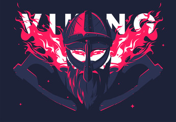 Vector illustration of Viking helmet with beard and Viking face with burning eyes pink fire, medieval warrior, silhouette axes