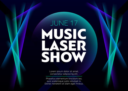 Horizontal music laser show poster with bright color graphic elements, dark background and text.