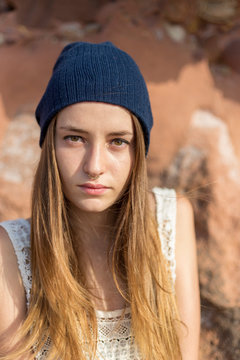 Portrait of a female, teenager outdoors