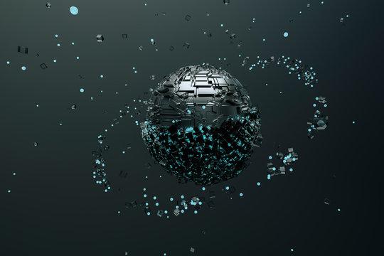 Metallic sphere attracting particles