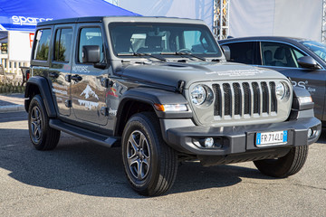 The beauty design of American off-road vehicle Jeep Wrangler from Jeep automaker, Rome,Italy - July 21, 2019