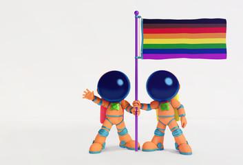 Astronauts holding rainbow flag.LGBT concept.3D illustration