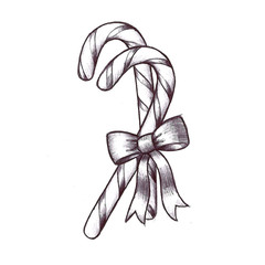 Christmas candy cane with bow illustration that is hand drawn in black on white background, cute fun holiday tradition food