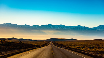 Toiyabe Mountains at Sunrise on Nevada Loneliest Road in America US50
