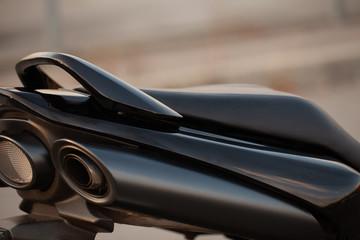 Stylish black sports bike on the street.