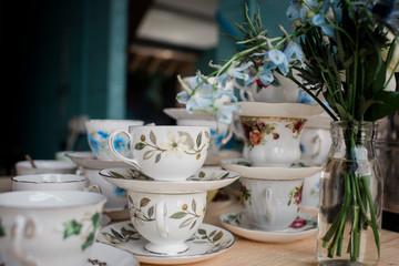 Vintage cups and saucers for wedding decoration