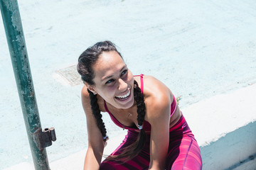 Colorful image of female athlete laughing