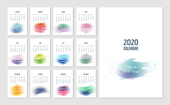 Calendar 2020 with quotes. Motivational and inspirational phrases on watercolor background. Vector design