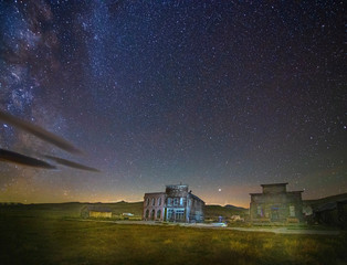 Starscape and Old Buildings Ghost Town of Bodie