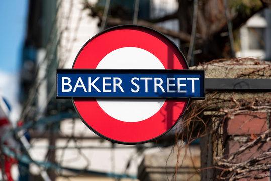 LONDON - JAN 11: Baker Street Underground Station Tube Sign in London on January 11. 2017 in UK
