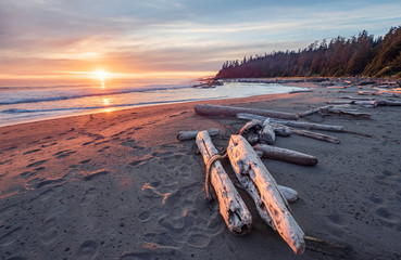 Foto op Plexiglas Kust Beautiful sunset along the West Coast Trail of Vancouver Island, British Columbia, Canada.