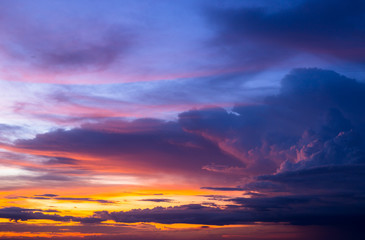 Photo sur Aluminium Aubergine Colorful of sky and cloud in sunset,and twilight,with cityscape in the evening