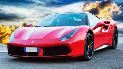 Luxury model red sports car model Ferrari 488 GTB placed on a scenic background, Rome, Italy - June 24, 2018