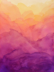 Poster Abstract wave beautiful hues of yellow gold pink and purple in hand painted watercolor background design with paint bleed and fringing in colorful sunrise or sunset colors in cloudy shapes