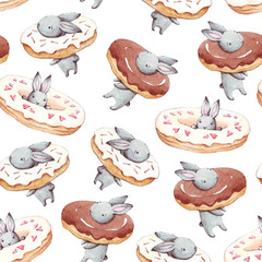Watercolor seamless pattern. Wallpaper with party donuts and cute fantasy bunneis cartoon animals on white background. Hand drawn vintage texture.