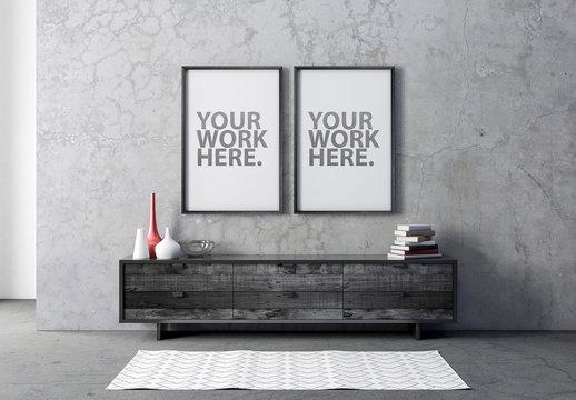 2 Black Wooden Frames in Concrete Interior Mockup