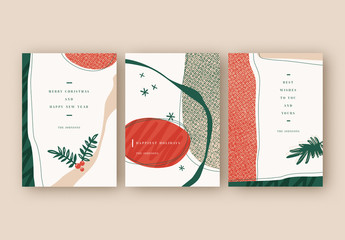 Holiday Card Layout Set with Illustrative Elements