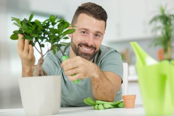 Printed roller blinds Bonsai happy man taking care of bonsai plant