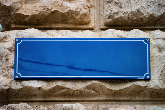 Blank Street plate on building wall in Vienna