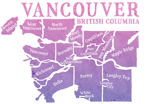 Stylized map of greater Vancouver, Canada, British Columbia. Decorative font for the municipalities. Watercolor texture in a pink to purple gradient.