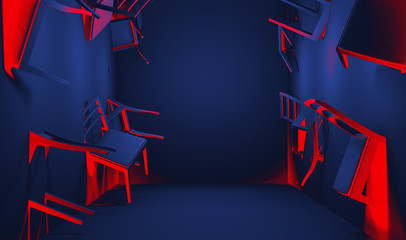 Chair embedded into wall 3d rendering