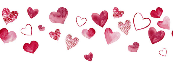 Seamless watercolor header with pink hearts on white background. Valentine's day border. Hand-drawn illustration.