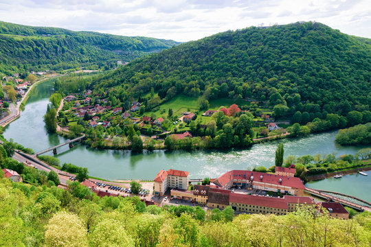 Landscape from Citadel of Besancon with River Doubs in Bourgogne
