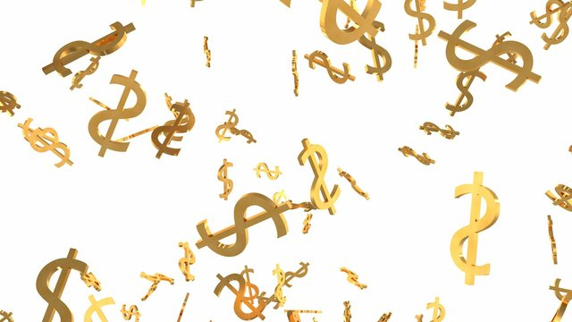Shiny Golden Dollar Signs Falling Down in Slow Motion 3D Animation - Abstract Background Texture