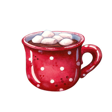 hot chocolate with marshmallow in red ceramic mug