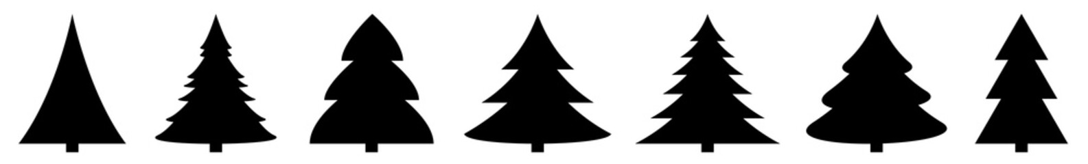 Fototapeta Christmas Tree Black Icon | Fir Tree Illustration | x-mas Symbol | Logo | Isolated Variations obraz