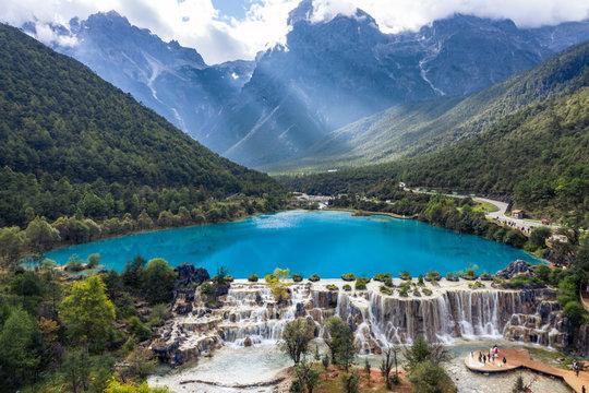 lue Moon Valley in Jade Dragon Snow Mountain, Lijiang, Yunnan China