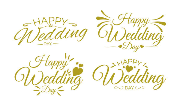 Happy Wedding Day Greeting Card Lettering. Gold.