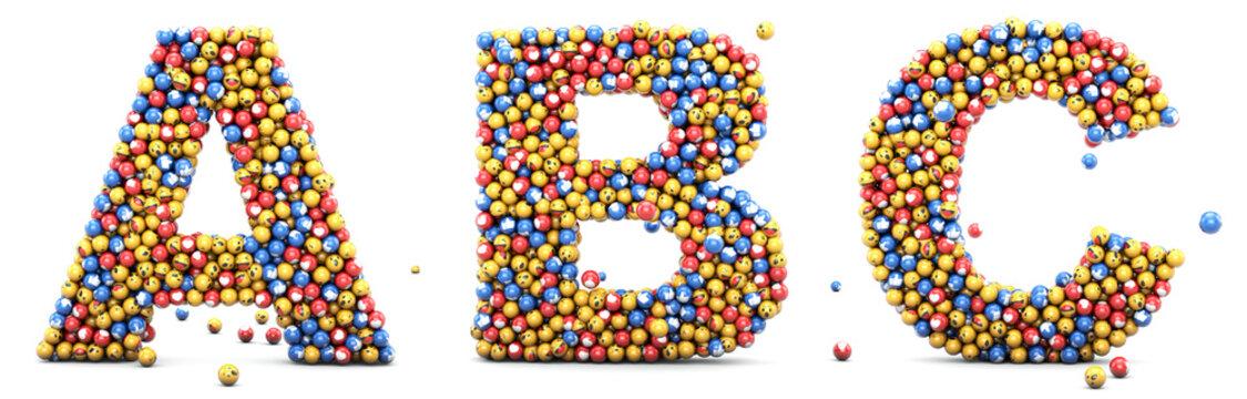 Emoji reactions letters A, B, C. Alphabet emoticons set for social medias and social networks. 3D render.