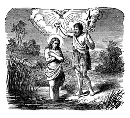 The Baptism of Jesus by John the Baptist in the Jordan River vintage illustration.