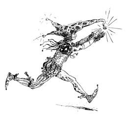 Jester Chasing Ball vintage illustration.