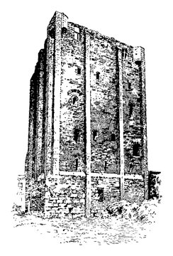 Tower of Beaugency, part of the city,  vintage engraving.