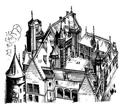 Hotel Jacques Coeur, Bourges,  vintage engraving.