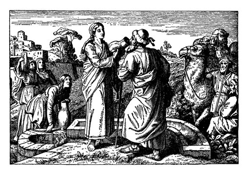 Rebecca Offers Water to Eliezer at the Well and is Chosen to be Isaac's Wife vintage illustration.
