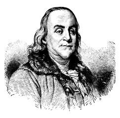 Benjamin Franklin, vintage illustration