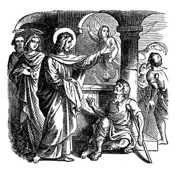 Jesus Heals a Sick Man at the Pool of Bethesda vintage illustration.