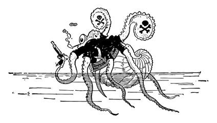 Animal Alphabet N, Nautilus, vintage illustration