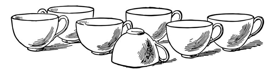 Seven Cups, vintage illustration..