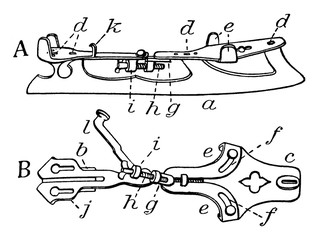 Ice Skates Components vintage illustration.