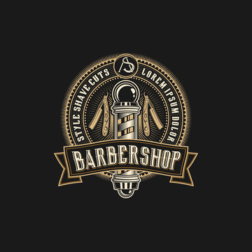 Barbershop logo with a complex design of elegant vintage details with professional scissors and razor elements, for your business and professional barbershop label with quality services.