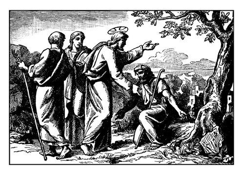 Jesus Heals Ten Lepers and Only the Samaritan Returns to Give Thanks vintage illustration.
