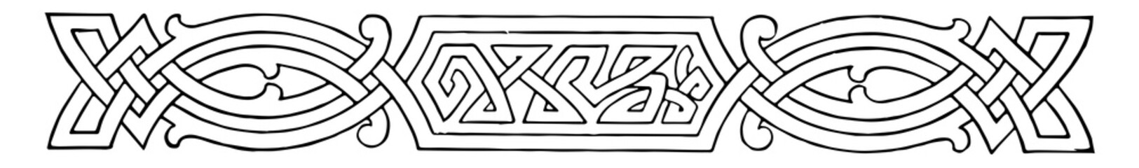 Celtic Divider is a intertwining knots pattern, vintage engraving.