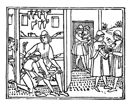 A Bootmaker's Shop from the Decameron printed in 1492 by Giovanni Boccaccio, vintage engraving.