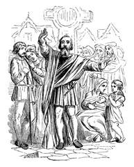 Medieval Preacher vintage illustration.