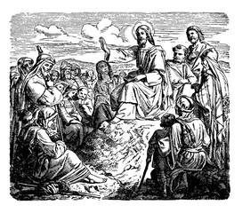 The Sermon on the Mount - Jesus Preaches to the Multitudes vintage illustration.